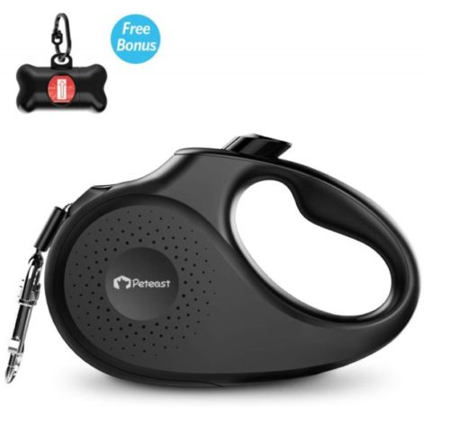 11.Peteast Retractable Dog Leash, 360° Tangle-Free, Heavy Duty 16ft Strong Reflective Nylon Tape with Waste Bag Dispenser, Anti-bite Leash, One-Handed Brake