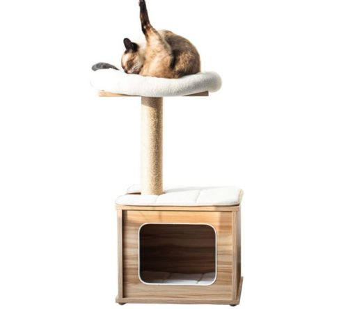 12.Catry Cat Tree Tower with Kitten Condo Paper Rope Covered Scratch Post Activity Center for Climbing Relaxing and Playing