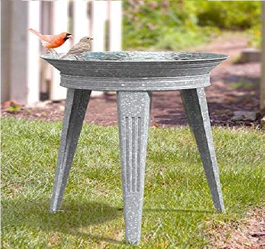 12.Panacea Stan Vintage Metal Bird Bath and Stand, Galvanized, Gray