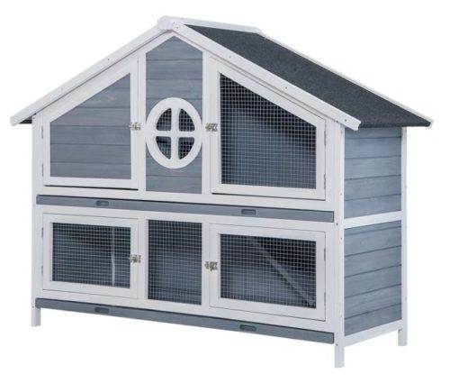 12.Rhomtree Large Wood Rabbit Hutch Chicken Coop Rabbit Bunny Outdoor Garden Backyard Hen House Small Animal Cage Pet House