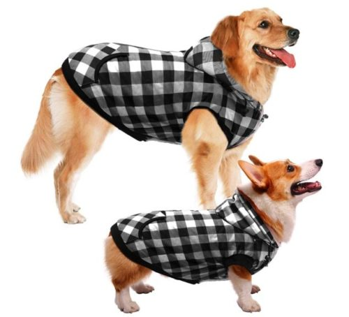 13.ASENKU Dog Winter Coat Thicker Fleece Dog Hoodie Jacket British Plaid Pet Warm Outfit with Removable Hat Windproof Vest for Small Medium Large Dogs