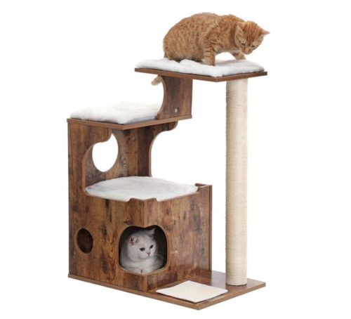 13.FEANDREA 34.6 inches Cat Tree, Medium Cat Tower with 3 Beds and House, Cat Condo, Sisal Post and Washable Faux Fur, Vintage