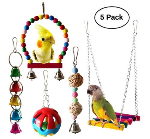 2.BWOGUE 5pcs Bird Parrot Toys Hanging Bell Pet Bird Cage Hammock Swing Toy Hanging Toy for Small Parakeets Cockatiels, Conures, Macaws, Parrots, Love Birds, Finches