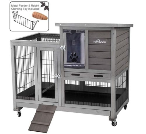 3.Aivituvin Rabbit Hutch Indoor Bunny Hutch with Run Outdoor Rabbit House with Two Deeper No Leak Trays - 4 Casters Include