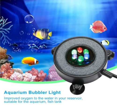 3.DXCEL LED Aquarium Air Bubble Light Fish Tank Air Curtain Bubble Stone Disk with 6 Color Changing LEDs