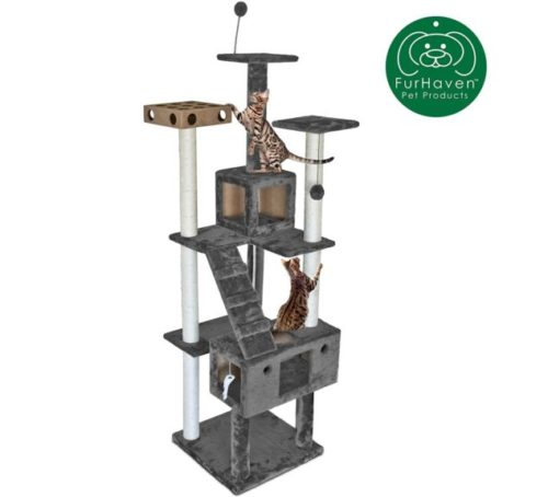 3.Furhaven Pet Cat Tree Tiger Tough Cat Tree House Condo Perch Entertainment Playground Furniture for Cats & Kittens - Available in Multiple Colors & Styles