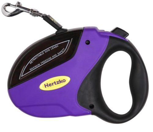 3.Hertzko Heavy Duty Retractable Dog Leash Great for Small, Medium & Large Dogs up to 110lbs - Strong Nylon Ribbon Extends 16ft
