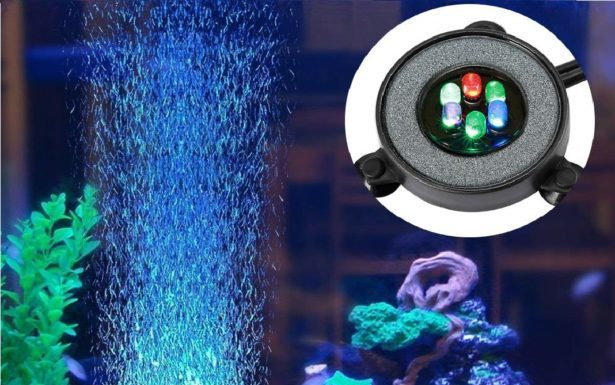 4.NICREW Multi-Colored LED Aquarium Air Stone Disk, Round Fish Tank Bubbler with Auto Color Changing LEDs