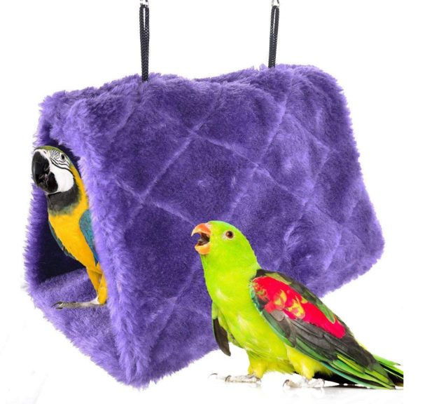 4.Winter Warm Bird Nest House Shed Hut Hanging Hammock Finch Cage Plush Fluffy Birds Hut Hideaway for Hamster Parrot Macaw Budgies Eclectus Parakeet Cockatiels