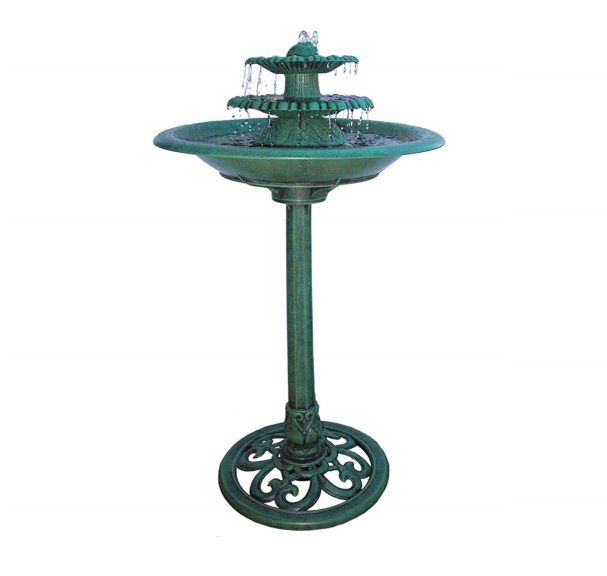5.Alpine Corporation 3-Tiered Pedestal Water Fountain and Bird Bath - Resin Vintage Decor for Garden, Patio, Deck,