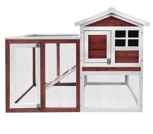 5.Merax Rabbit Hutch,48 Outdoor Bunny House Cage 2 Story Pet House Chicken Coop with Removable Tray & Run Rabbit Cage