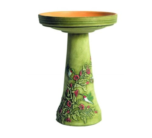 6.Burley Clay Hummingbird Bird Bath Set