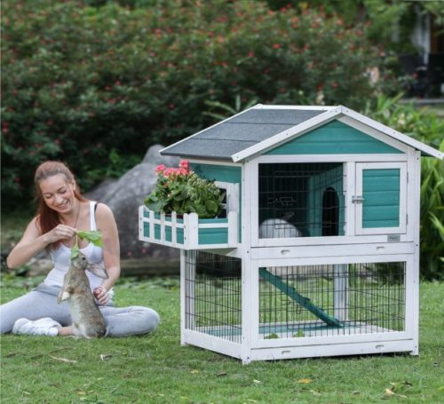 6.Petsfit 42.5 x 30 x 46 inches Bunny Cages,Outdoor Rabbit Hutch