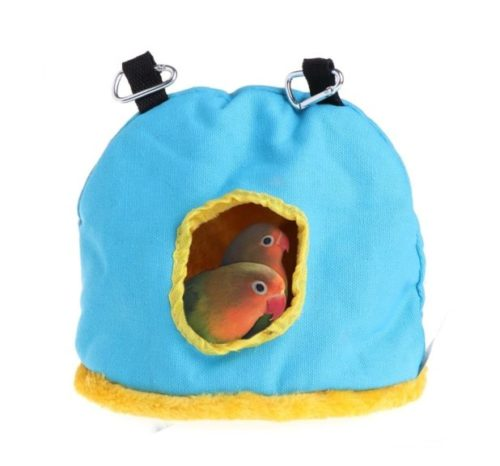 6.Stock Show Parrot Nest Plush Warm Winter Hanging Hammock Pet Bird Round Hanging Swing Bed Cave Cage Decor Small Animals House Hanging Hammock, Random Color