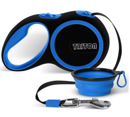 6.Triton Retractable Dog Leash - 16 Foot Reinforced Nylon with Collapsible Water Bowl - 1-Touch Locking System - Tangle-Free - Anti-Slip Rubberized Handle