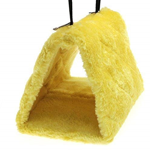 7.Cdycam Pet Bird Nest Hammock Hanging Cave Cage Plush Snuggle Happy Hut Tent Bed (Yellow(large))