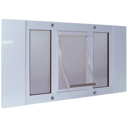 7.Ideal Pet Products Aluminum Sash Window Pet Door, Adjustable to Fit Window Widths from 33 to 38