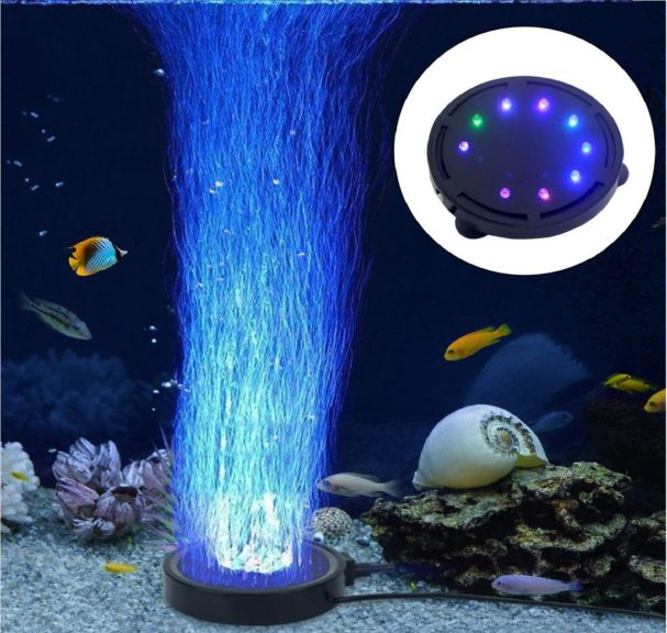 7.LONDAFISH Aquarium Bubble Light Aquarium Air Stone LED Light Air Pump Bubble Stone Lamp