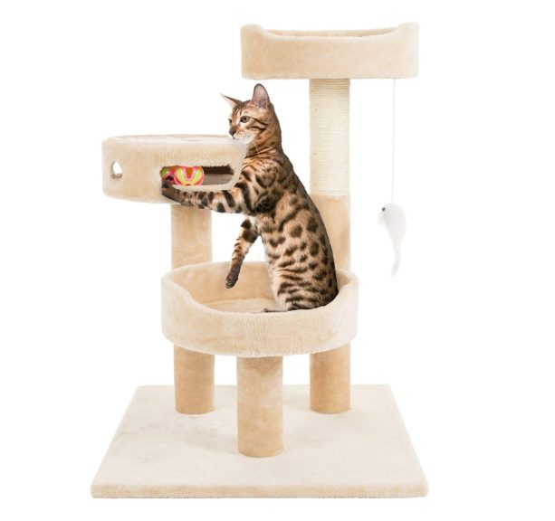 7.PETMAKER Cat Tree 3 Tier 2 Hanging Toys A 3 Ball Play Area and Scratching Post, 27.5, Tan