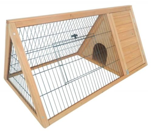 7.PawHut Outdoor Triangular Wooden Bunny Rabbit Hutch Guinea Pig House with Run