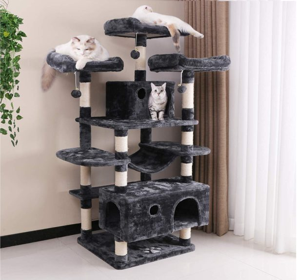 8.BEWISHOME Large Cat Tree Condo with Sisal Scratching Posts Perches Houses Hammock, Cat Tower Furniture Kitty Activity Center Kitten Play House MMJ03