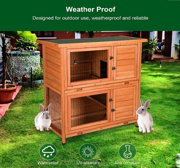 8.CO-Z Topnotch Weatherproof Indoor Outdoor Wooden Bunny Rabbit Hutch Cat Shelter Guinea Pig House
