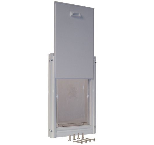 8.Ideal Pet Products Deluxe Aluminum Pet Door with Telescoping Frame, White