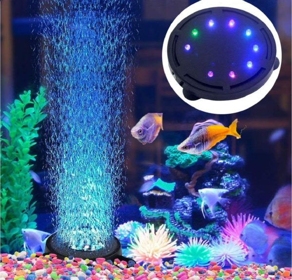 8.JackSuper Aquarium Air Stone Bubble Light Submersible Fish Tank Air Bubbler LED Light Air Pump Bubble Stone Lamp for Turtle Fish Tank Decoration