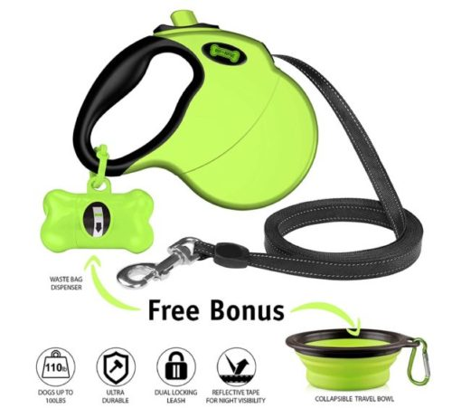 8.Ruff 'n Ruffus Retractable Dog Leash with Free Waste Bag Dispenser and Bags + Bonus Bowl Heavy-Duty 16ft Retracting Pet Leash