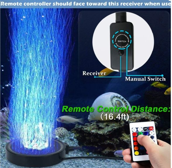 9.Aquarium Bubble LED Lights RGBW, TOPBRY Remote Controlled Air Stone Disk, with 16 Color Changing, 4 Lighting Effects for Fish Tank Decorations