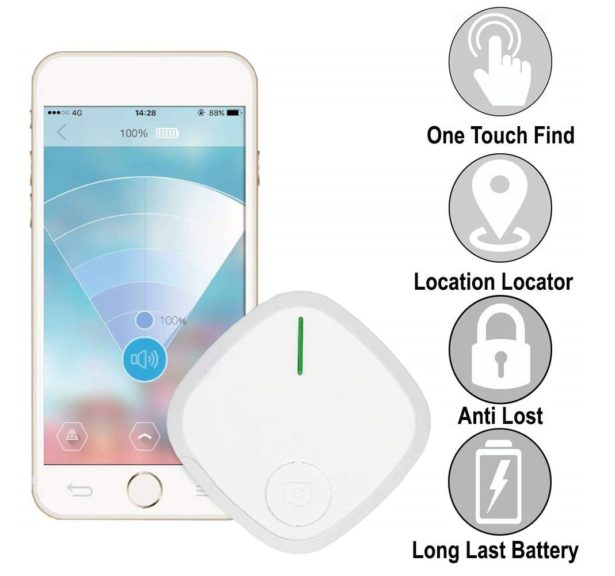 9.Key-Finder Smart Tracker, Phone Wallet Bag Remote Finders Bluetooth Locator Kids-GPS Tracking-Device (1 Pack, White)