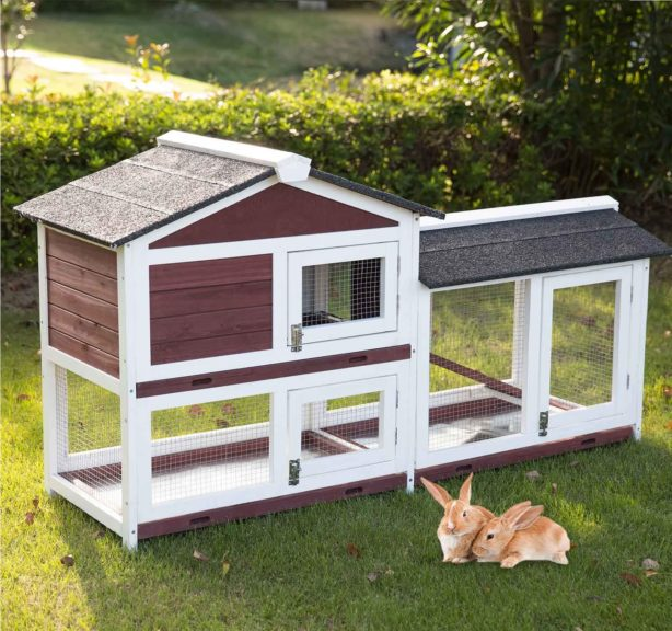 9.Kinbor Outdoor 60 Wooden Bunny Hutch Hen Duck Coop Large House Removable Tray & Ramp & Run Area