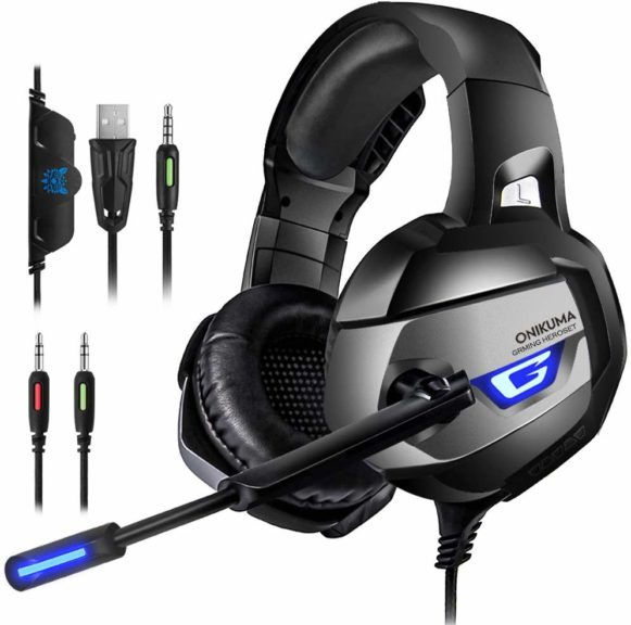 5. PS4 Gaming Headset - ONIKUMA Gaming Headset with 7.1 Surround Sound