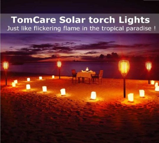 4.TomCare Solar Lights Upgraded, Waterproof Flickering