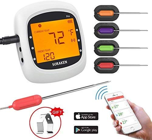 4.Wireless Meat Thermometer for Grilling, Bluetooth Meat Thermometer Digital BBQ Cooking
