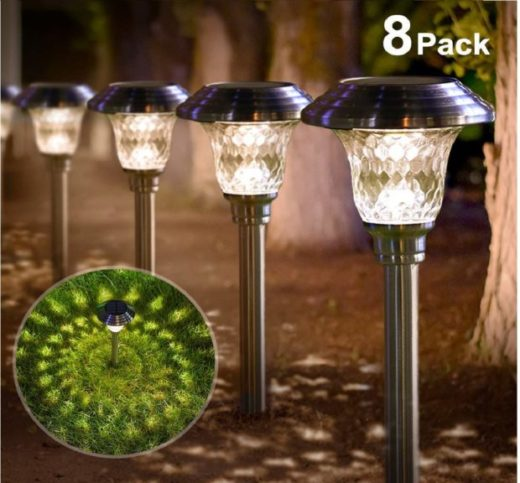 6.Solar Lights Bright Pathway Outdoor Garden Stake Glass Stainless