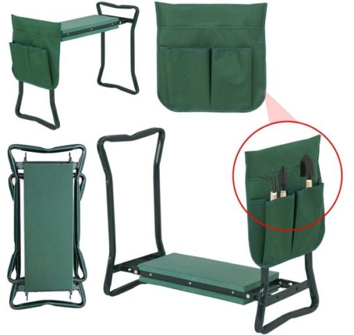 9.Folding Garden Kneeler Seat Bench Stool wSoft Kneeling Pad