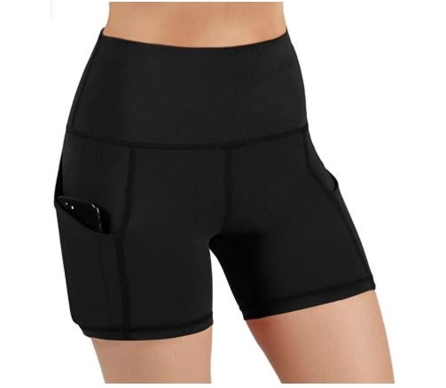 1.ODODOS High Waist Out Pocket Yoga Short Tummy Control Workout Running Athletic Non See-Through Yoga Shorts