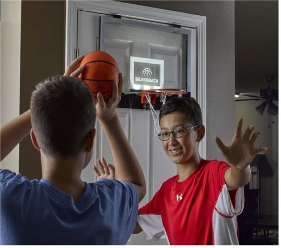 12.Silverback 23 LED Light-Up Over the Door Mini Basketball Hoop Includes Mini Basketball and Air Pump