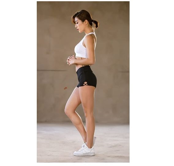 13.Helisopus Womens Stretch Solid Athletic Shorts Cross Side Tie Dance Yoga Shorts