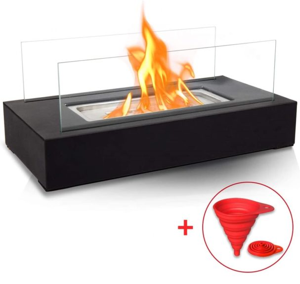 5.BRIAN & DANY Ventless Tabletop Portable Fire Bowl Pot Bio Ethanol Fireplace Indoor Outdoor Fire Pit