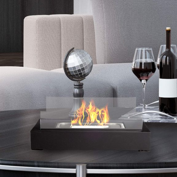 7.Northwest Bio Ethanol Ventless Fireplace-Tabletop Rectangular Real Flame Smokeless Clean Burning