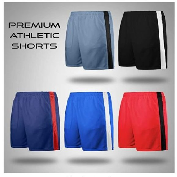 11.Liberty Imports Pack of 5 Men's Athletic Basketball Shorts Mesh Quick Dry Activewear with Pocket