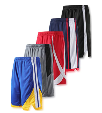 Liberty Imports Pack of 5 Men's Athletic Basketball Shorts Mesh Quick Dry Activewear