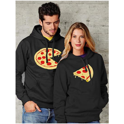 Tstars The Missing Piece Pizza & Slice - His and Her Hoodies - Matching Couple Hoodies