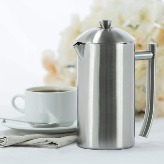 10.Frieling USA Double Wall Stainless Steel French Press Coffee Maker with Zero