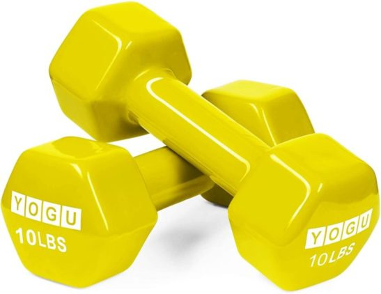 10.YOGU Neoprene or Vinyl Dumbbells Anti-Roll Hexagonal Dumb Bell Weights Compact and Color-Coded Non-Slip Grip for Men and Women Toning