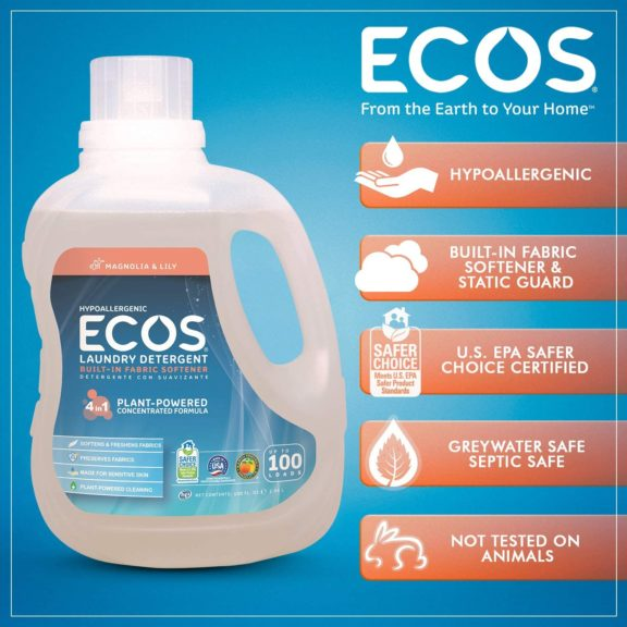 11.Earth Friendly Products ECOS 2X Liquid Laundry Detergent, Magnolia & Lily, 200 Loads, 100 Fl Oz (Pack of 2)