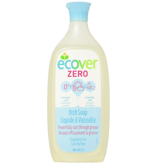 11.Ecover Natural Plant-Based Liquid Dish Soap, Fragrance Free, 25 Ounce