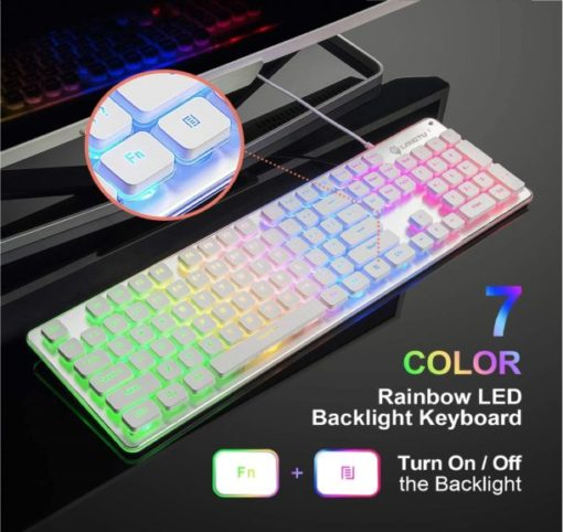11.LANGTU Membrane Gaming Keyboard, Rainbow LED Backlit Quiet Keyboard for Office